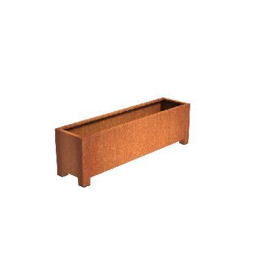 Pot carré ANDES avec pieds en acier corten 2000x500x600 mm