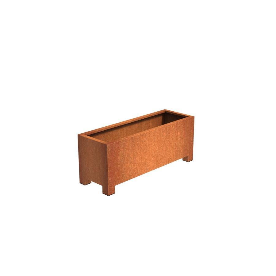Pot carré ANDES avec pieds en acier corten 1500x500x600 mm