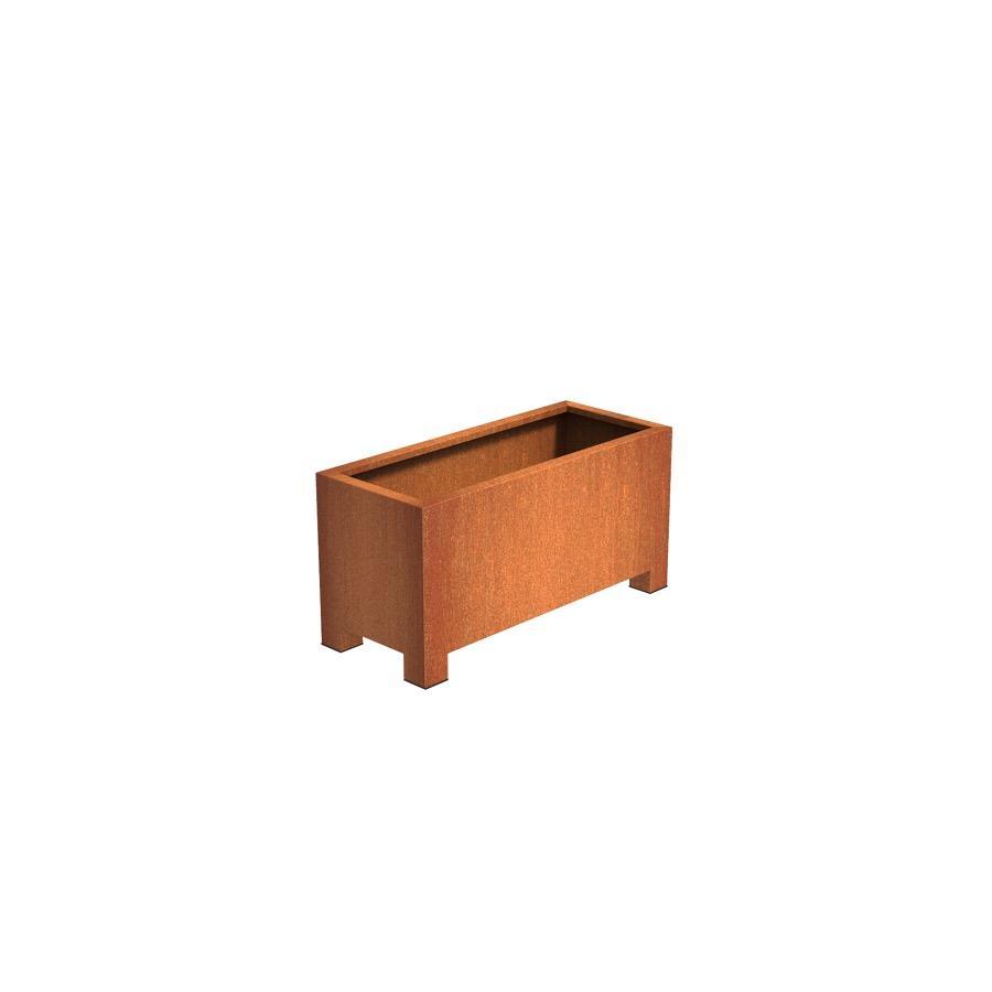 Pot carré ANDES avec pieds en acier corten 1200x500x600 mm