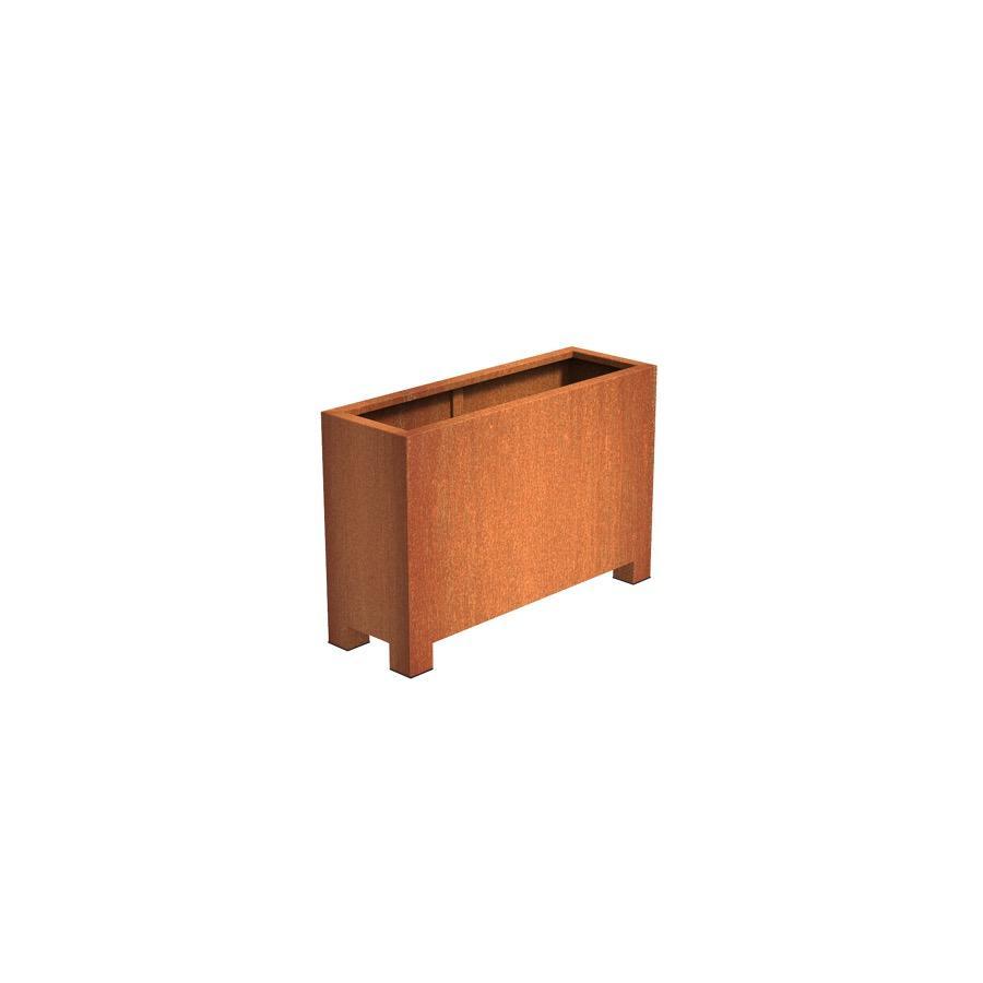 Pot rectangulaire ANDES avec pieds en acier corten 1200x400x800 mm