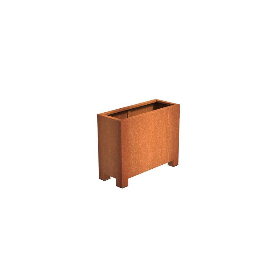 Pot rectangulaire ANDES avec pieds en acier corten 1000x400x800 mm