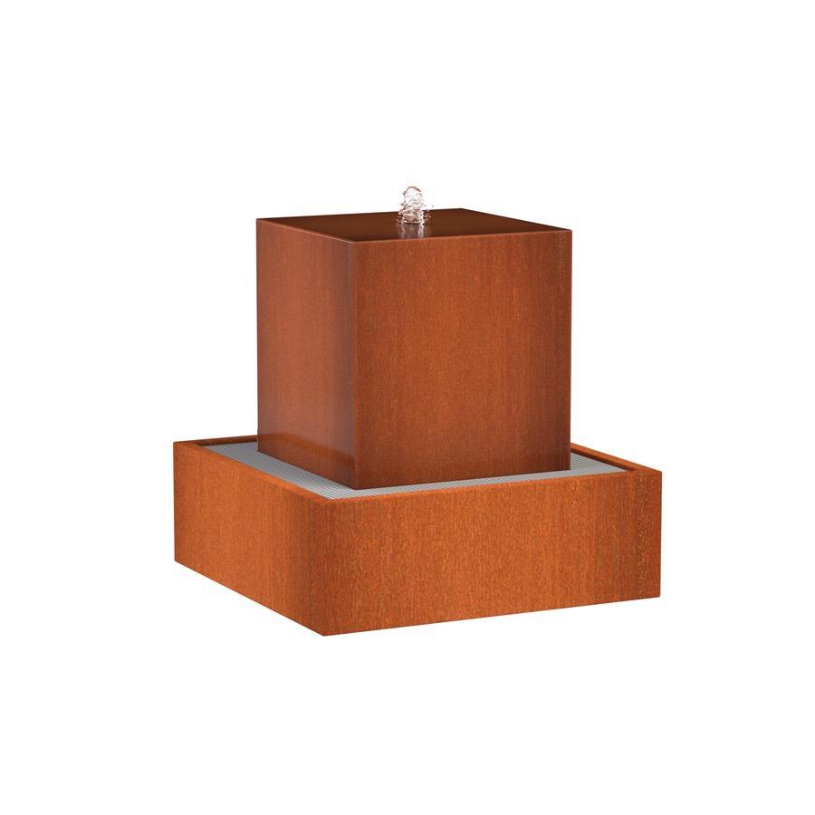Table d'eau carrée en acier corten 700x700x700 mm