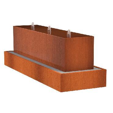 Table d'eau rectangulaire en acier corten 3000x700x700 mm