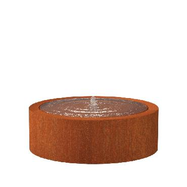 Table d'eau ronde en acier corten 1200x400 mm