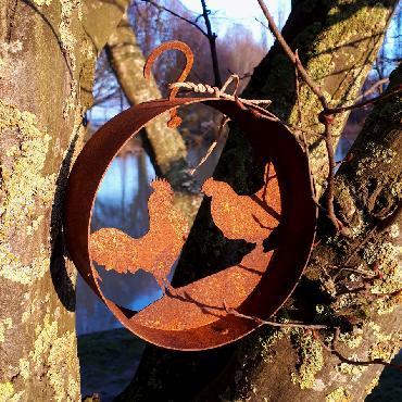 Cercle décoratif poule coq D15cm à suspendre ou à poser en fer rouillé
