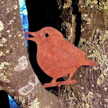 Oiseau petit moineau H11cm à visser en fer rouille