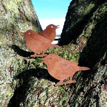 Oiseaux petits moineaux H11cm à visser en fer rouille