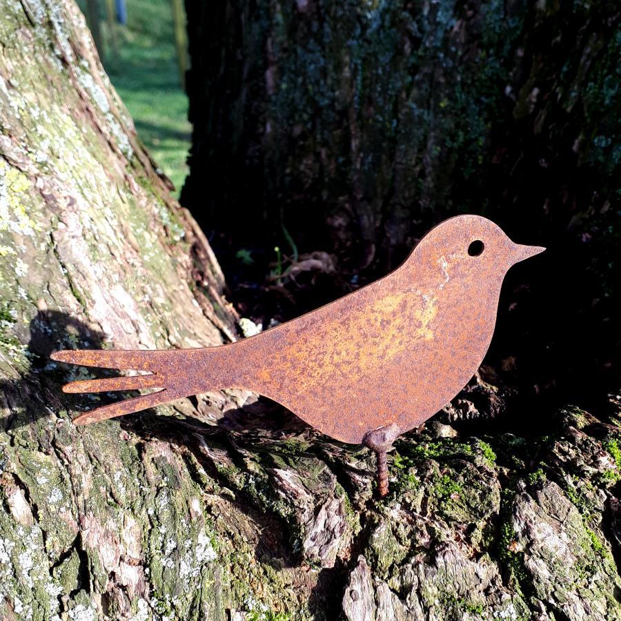 Oiseau pinson H6cm à visser en fer rouille