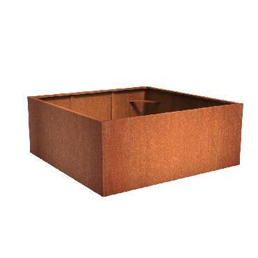 Pot carré ANDES en acier corten 2000x2000x800 mm