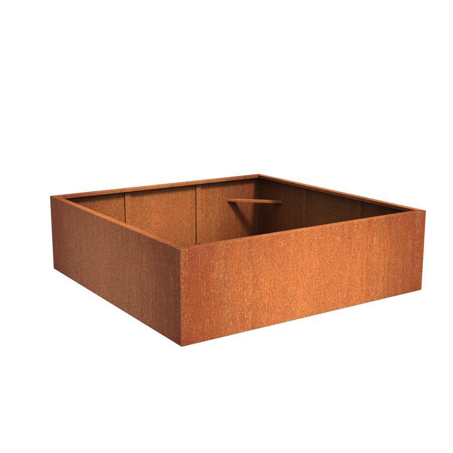 Pot carré ANDES en acier corten 2000x2000x600 mm
