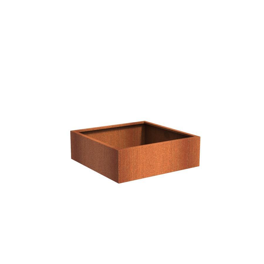 Pot carré ANDES en acier corten 1200x1200x400 mm