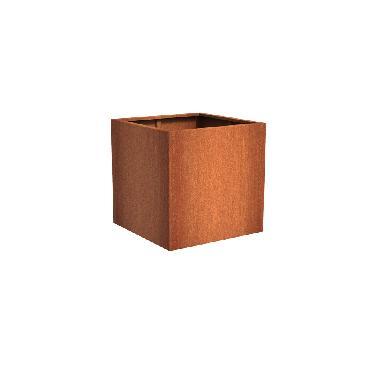 Pot carré ANDES en acier corten 1000x1000x1000 mm