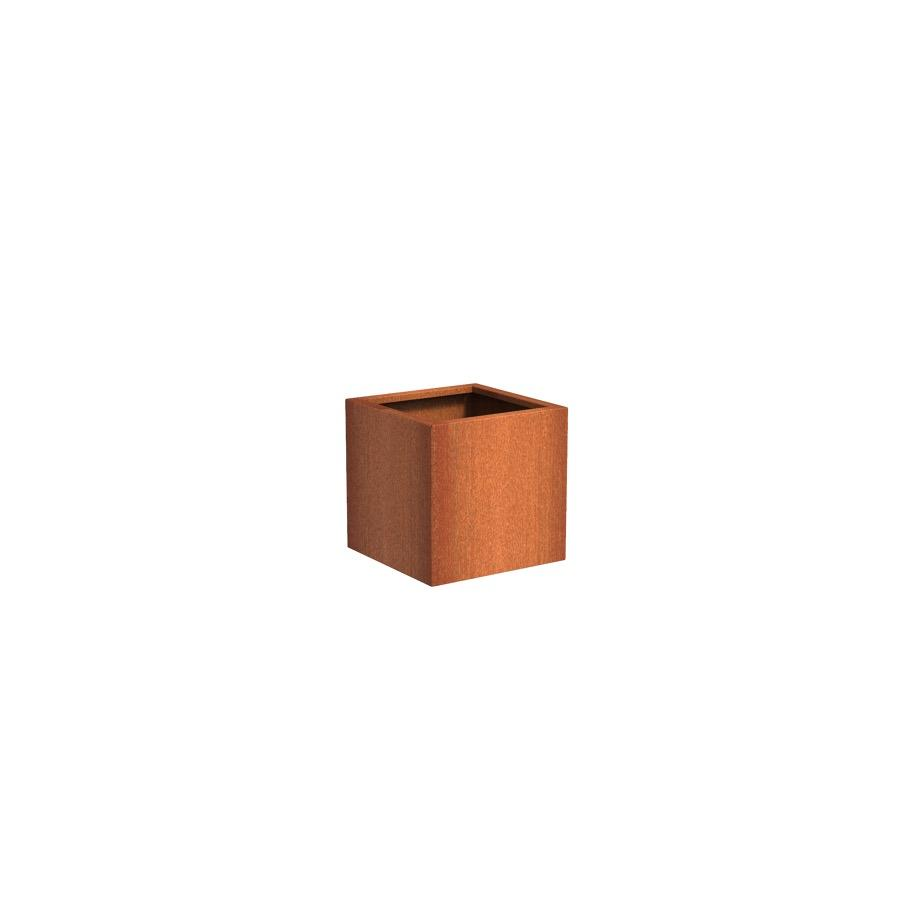 Pot carré ANDES en acier corten 600x600x600 mm