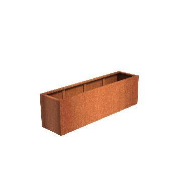 Pot rectangulaire ANDES en acier corten 2000x500x600 mm