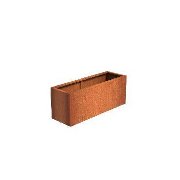 Pot rectangulaire ANDES en acier corten 1500x500x600 mm