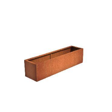 Pot rectangulaire ANDES en acier corten 2000x500x500 mm