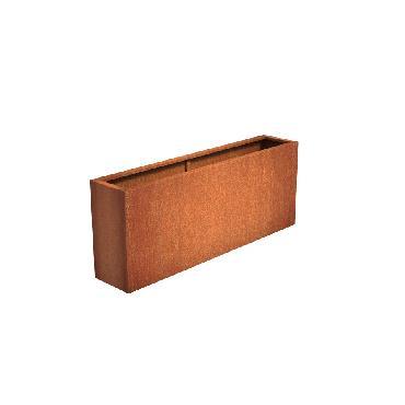 Pot rectangulaire ANDES en acier corten 2000x400x800 mm
