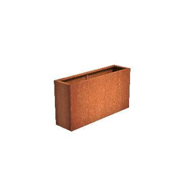 Pot rectangulaire ANDES en acier corten 1500x400x800 mm