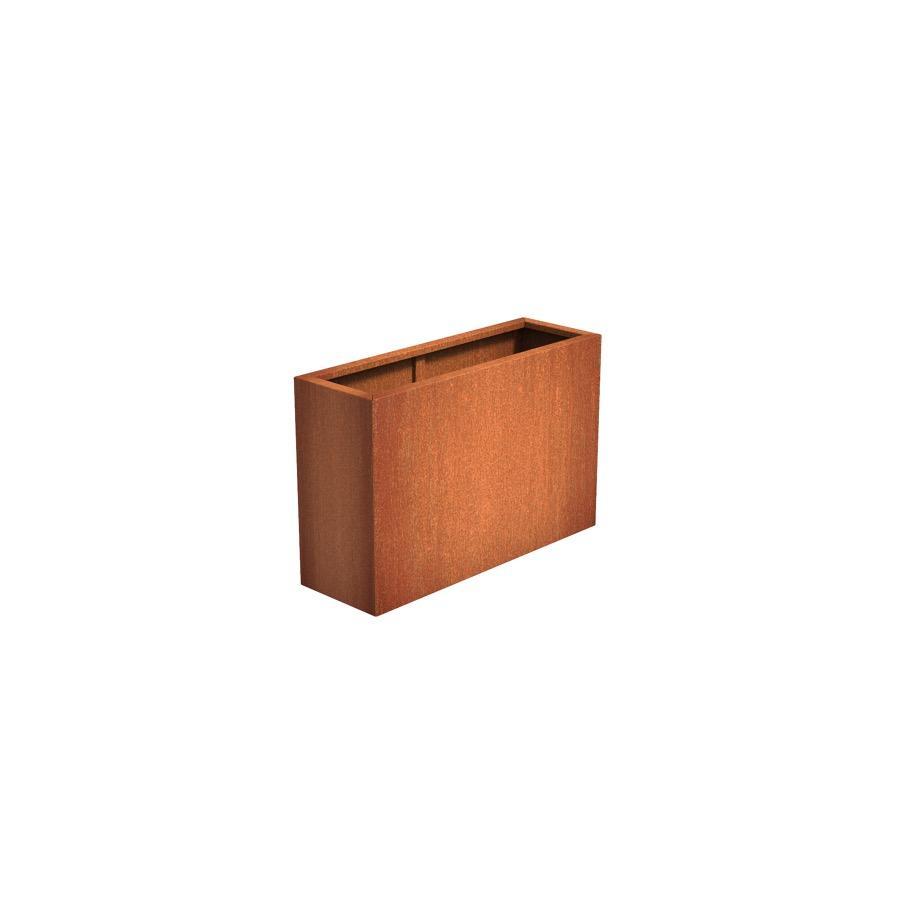Pot rectangulaire ANDES en acier corten 1200x400x800 mm