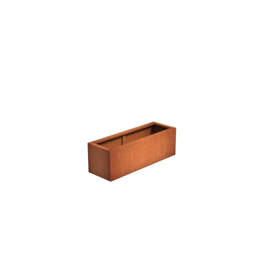 Pot rectangulaire ANDES en acier corten 1200x400x400 mm