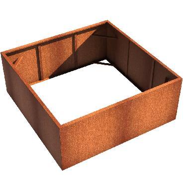Pot carré ANDES sans fond en acier corten 2000x2000x800 mm