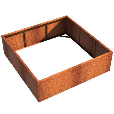 Pot carré ANDES sans fond en acier corten 2000x2000x600 mm