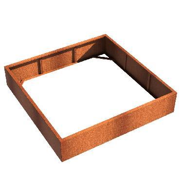 Pot carré ANDES sans fond en acier corten 2000x2000x400 mm