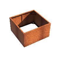 Pot carré ANDES sans fond en acier corten 1400x1400x800 mm