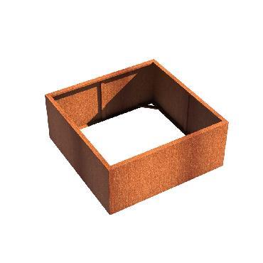 Pot carré ANDES sans fond en acier corten 1400x1400x600 mm