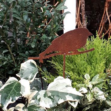 Oiseau bouvreuil H36.5cm à piquer en fer rouille