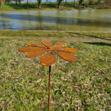 Fleur petite pâquerette D16xH64cm à piquer en fer rouillé