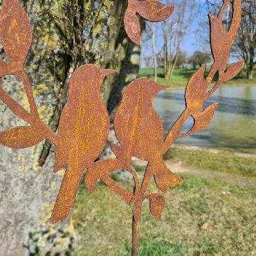 Coeur feuilles 2 oiseaux H150cm à piquer en fer rouillé