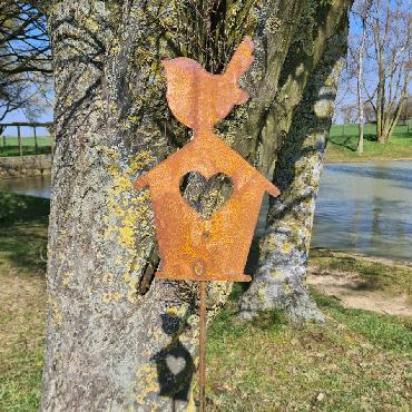 Oiseau sur maison coeur H150cm à piquer en fer rouillé