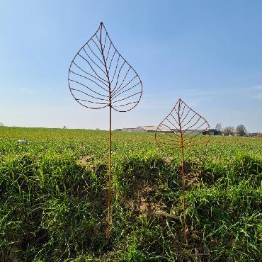 Grande et petite feuilles de peuplier H140cm à piquer en fer rouillé