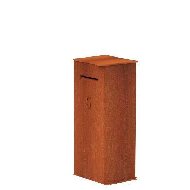 Boîte aux lettres CASE en acier corten 500x400x1200 mm