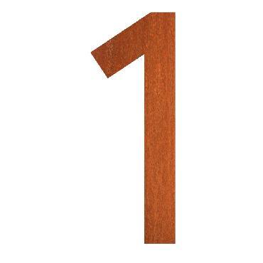 Numéro de maison 1 en acier corten 71x5x120 mm