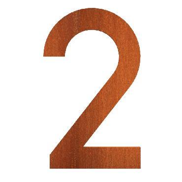 Numéro de maison 2 en acier corten 71x5x120 mm