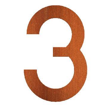 Numéro de maison 3 en acier corten 71x5x120 mm