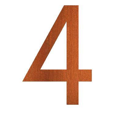 Numéro de maison 4 en acier corten 71x5x120 mm