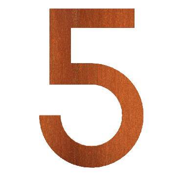 Numéro de maison 5 en acier corten 71x5x120 mm