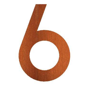 Numéro de maison 6 en acier corten 71x5x120 mm