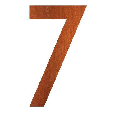Numéro de maison 7 en acier corten 71x5x120 mm