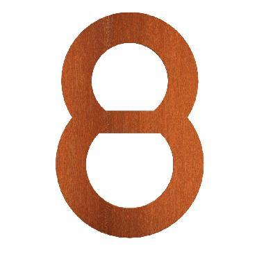 Numéro de maison 8 en acier corten 71x5x120 mm