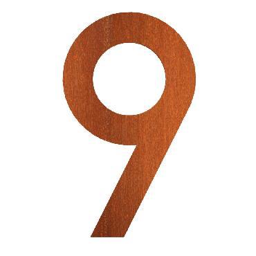 Numéro de maison 9 en acier corten 71x5x120 mm