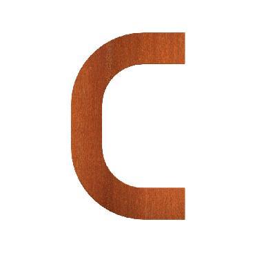Lettre de maison C en acier corten 55x5x90 mm