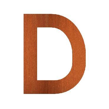 Lettre de maison D en acier corten 70x5x90 mm