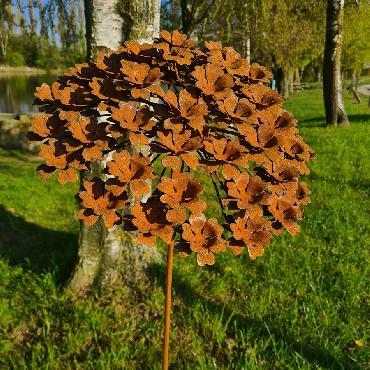 Grande fleur angélique 3D D38xH140cm à piquer en fer rouillé