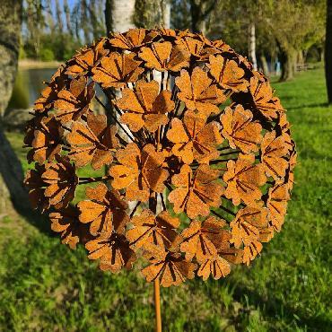 Grande fleur hortensia 3D D35xH145cm à piquer en fer rouillé