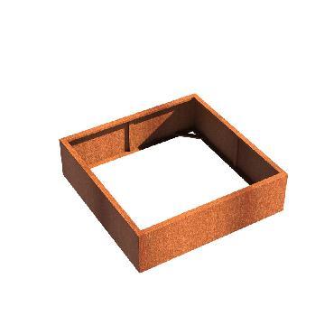 Pot carré ANDES sans fond en acier corten 1400x1400x400 mm