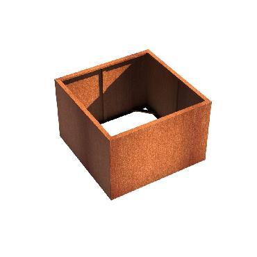 Pot carré ANDES sans fond en acier corten 1200x1200x800 mm